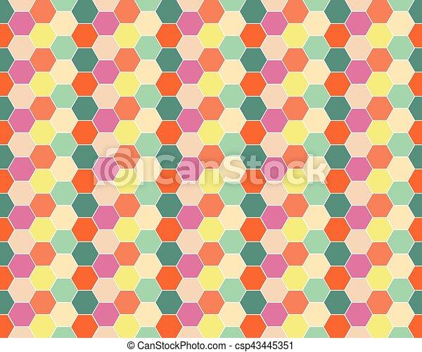 Multicolored hexagon geometric seamless background. - csp43445351