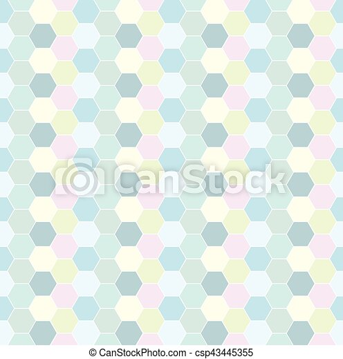 Multicolored hexagon geometric seamless background. - csp43445355