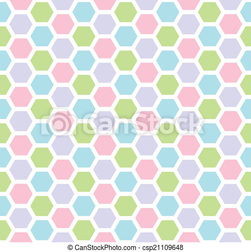 Multicolored hexagon geometric seamless background. - csp21109648
