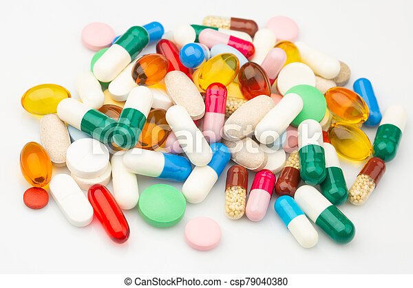 Multicolored Isolated Pills and Capsules - csp79040380