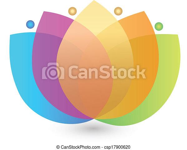 Multicolored lotus flower logo - csp17900620
