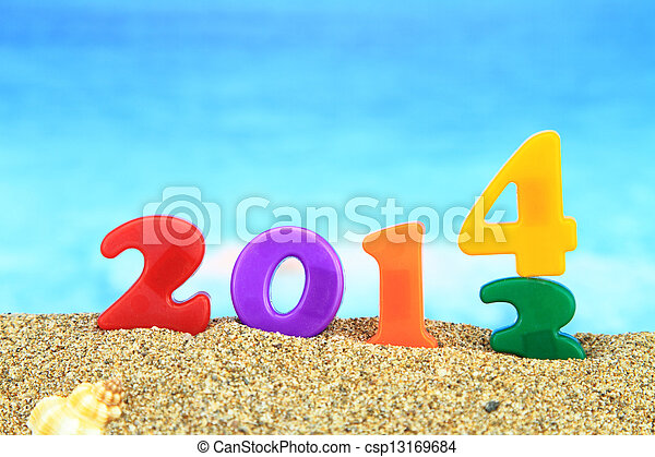 Multicolored new year 2014 on the beach - csp13169684
