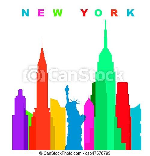Multicolored new york city. Flat vector illustration - csp47578793