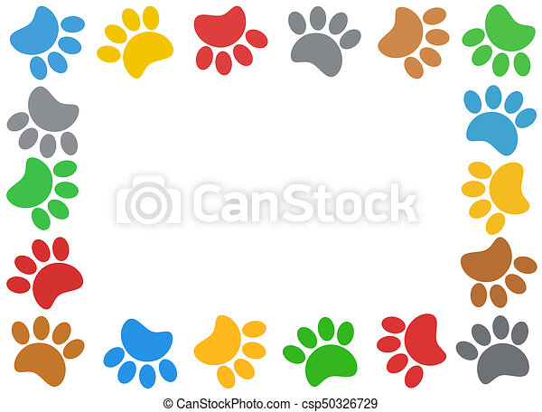 Multicolored paw print animal frame. Multicolored paw print animal ...