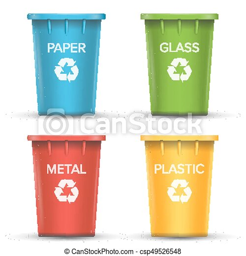 Multicolored Recycling Bins Vector. 3D Realistic. Set Of Red, Green, Blue, Yellow Buckets. For Paper, Glass, Metal, Plastic Sorting. Isolated On White - csp49526548