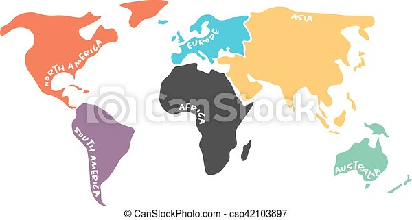 Multicolored simplified world map divided to continents multicolored simplified world map divided to continents csp42103897 gumiabroncs Images