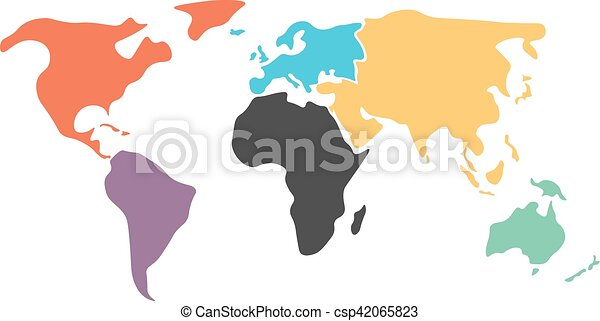 Multicolored simplified world map divided to continents vector multicolored simplified world map divided to continents csp42065823 gumiabroncs Images