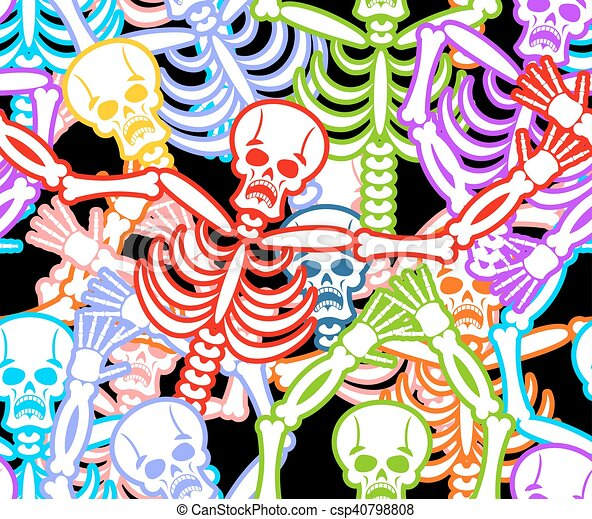 Multicolored Skeleton Ornament Day Of The Dead Seamless Pattern Skull Texture Background