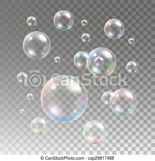 Multicolored soap bubbles on plaid background - csp29817488
