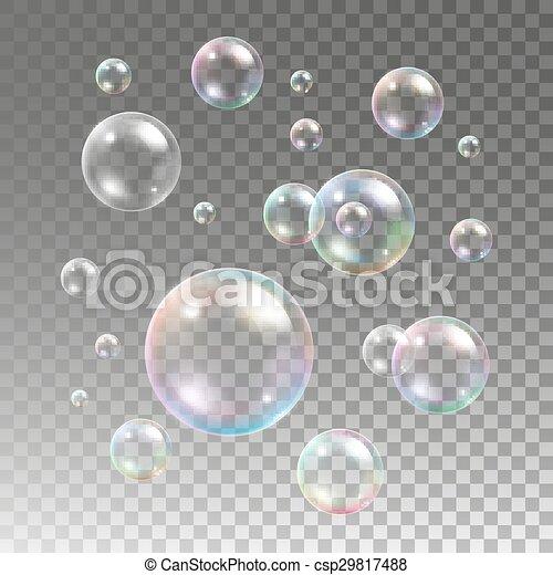 Multicolored soap bubbles on plaid background - csp29817488