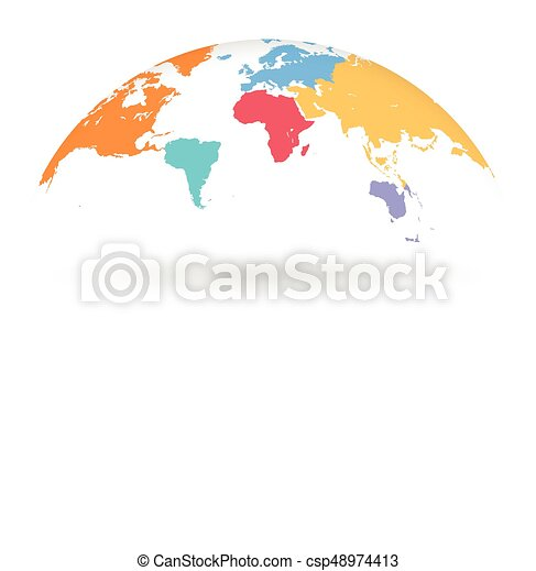 Multicolored vector globe map. Detailed colored world map, with ...