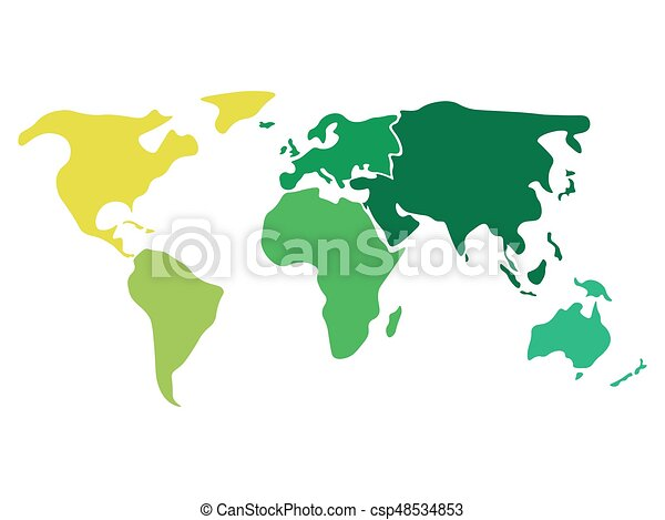 Multicolored world map divided to six continents in clipart multicolored world map divided to six continents in different colors north america south america gumiabroncs Choice Image