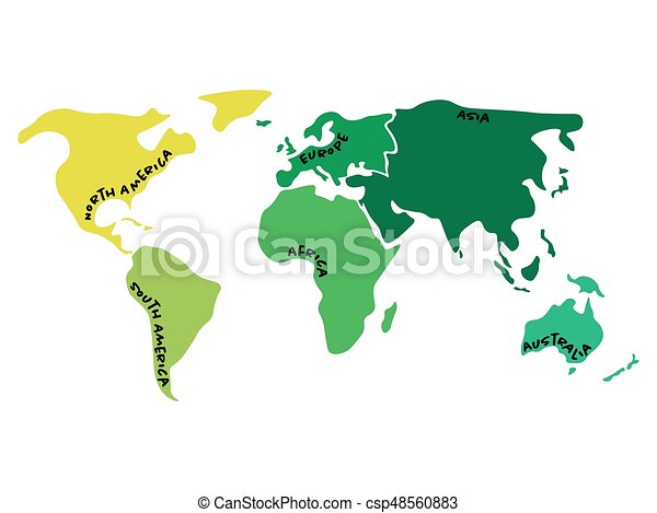 World Map With Australia.Multicolored World Map Divided To Six Continents In Different Colors North America South America Africa Europe Asia And Australia Oceania