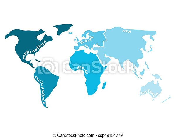 Multicolored World Map Divided To Six Continents In S Vectors - Blank world map for labeling