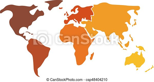 Multicolored world map divided to six continents in clipart multicolored world map divided to six continents in different colors north america south america gumiabroncs Image collections
