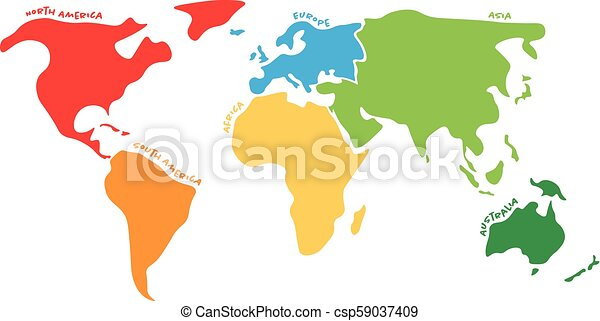 Multicolored world map divided to six continents in different colors -  North America, South America, Africa, Europe, Asia and Australia.  Simplified ...