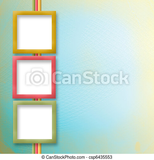 Multicoloured holiday frames for greetings or invitations.
