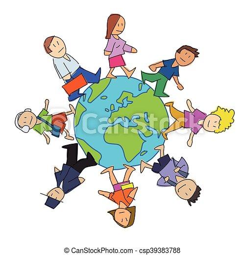 Dibujos de gente multicultural - csp39383788