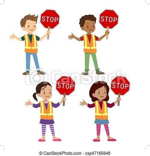 Multicultural children in crossing guard uniform - csp47165648