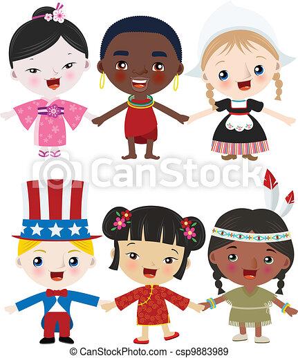 multicultural, crianças, junto - csp9883989