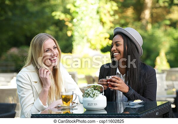 Multicultural Friends Laughing and Drinking Tea  - csp11602825