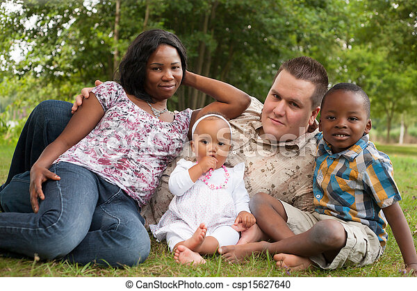 Multicultural happy family - csp15627640