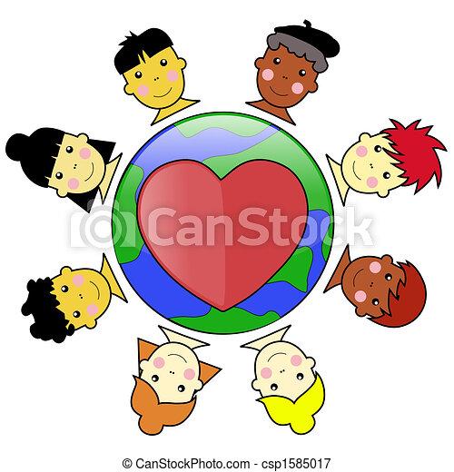 Multicultural Kid Faces United Around Earth Globe Illustration jpeg - csp1585017