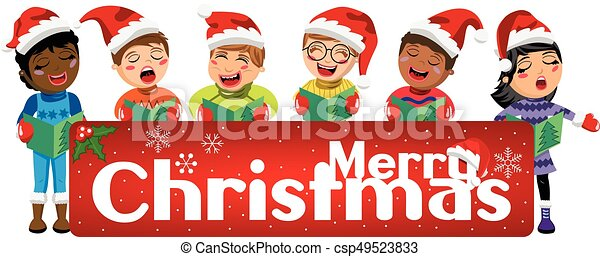 Multicultural kids wearing xmas hat and singing Christmas carol behind banner isolated - csp49523833