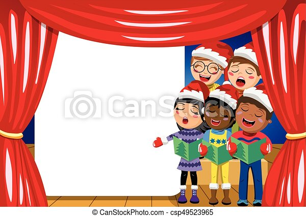 Multicultural kids wearing xmas hat singing Christmas carol nativity play stage copyspace - csp49523965