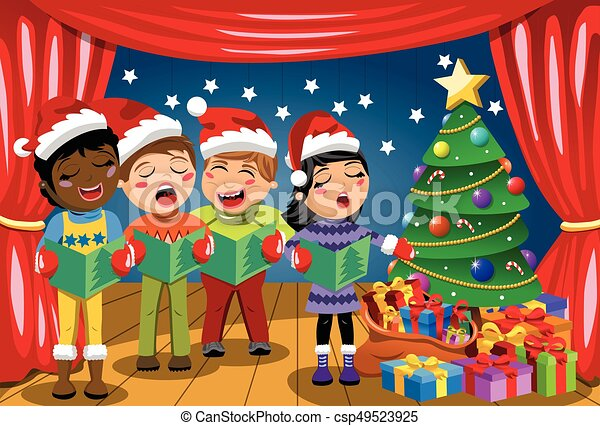 Multicultural kids wearing xmas hat singing Christmas carol nativity play stage - csp49523925