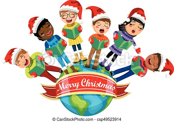 multicultural kids wearing xmas hat singing christmas carol rh canstockphoto com