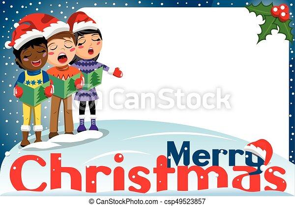 Multicultural kids xmas hat singing Christmas carol blank frame - csp49523857