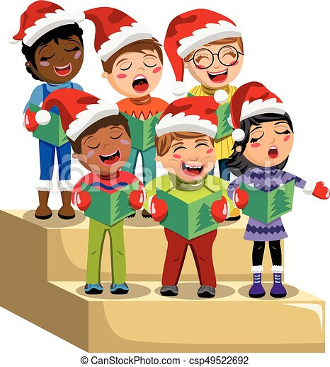 Christmas Singin.Multicultural Kids Xmas Hat Singing Christmas Carol Choir Riser Isolated