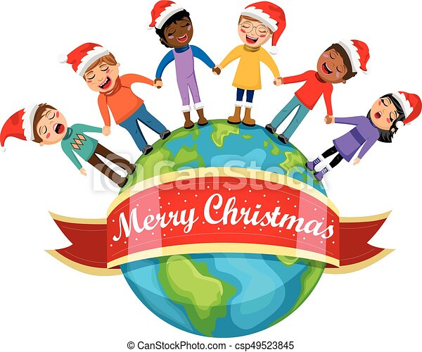 multicultural kids xmas hat singing christmas carol hand eps rh canstockphoto com multicultural education clipart multicultural clipart black and white