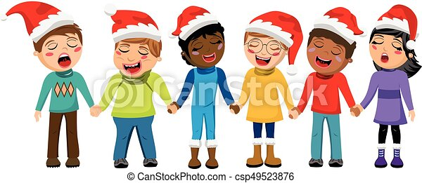 Multicultural kids xmas hat singing Christmas carol hand isolated - csp49523876