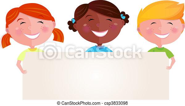 multicultureel, spandoek, kinderen - csp3833098