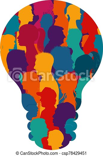 Multiethnic group of many people forming a light bulb. Sharing ideas thoughts and information. Communication and connection. Social network. Socialize. Population that speaks. Diverse culture - csp78429451