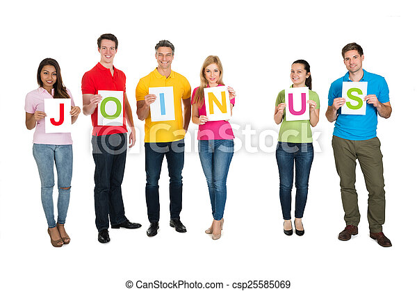 Multiethnic Group Of People Making Word Join Us - csp25585069