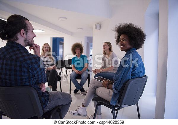 Multiethnic startup business team on meeting - csp44028359