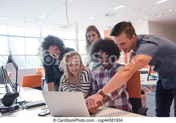 Multiethnic startup business team - csp44381934