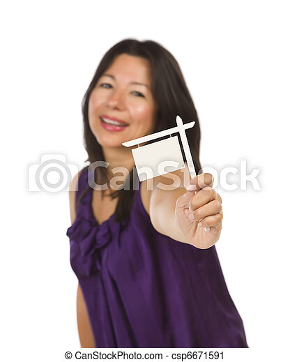 Multiethnic Woman Holding Small Blank Real Estate Sign in Hand - csp6671591