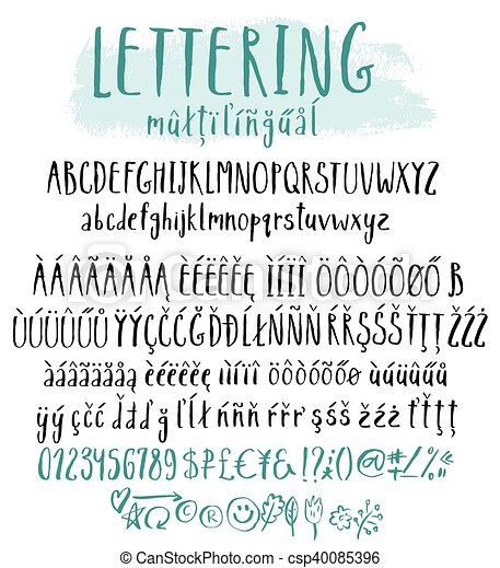 Multilingual Lettering Style Alphabet Accent Characters For