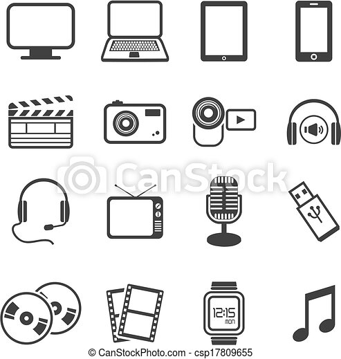 multimédia, icône, ensembles - csp17809655