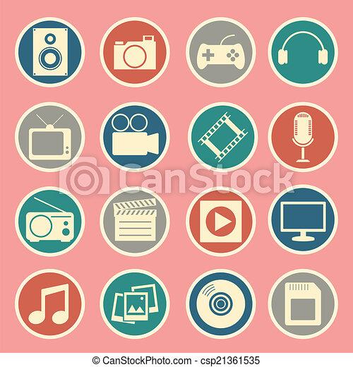 multimédia, icône - csp21361535