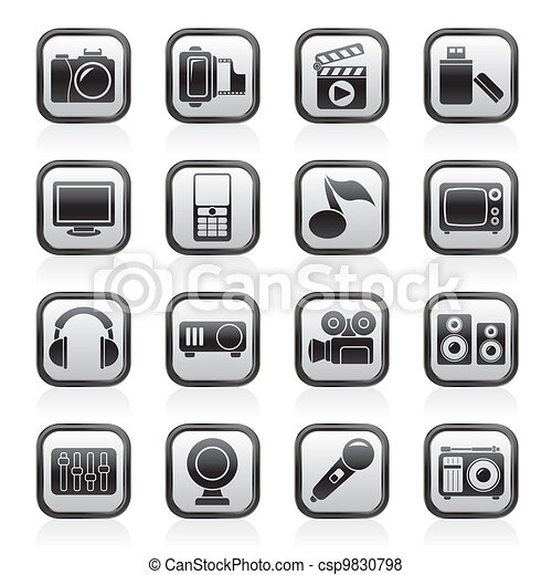 multimedia and technology icons - csp9830798