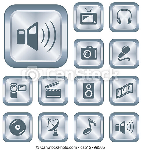 Multimedia buttons - csp12799585