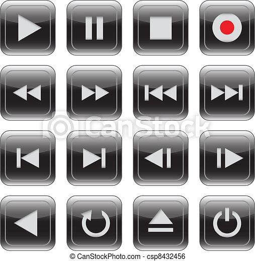 Multimedia control glossy icon set - csp8432456