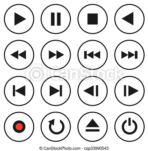 Multimedia control icon/button set - csp33990543