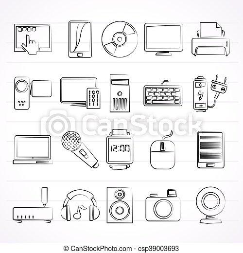 multimedia devices icons - csp39003693