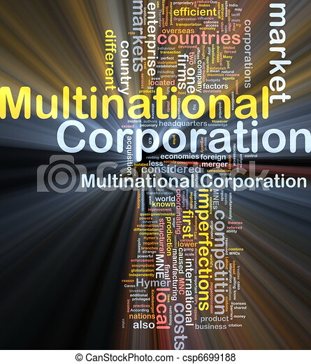 Multinational corporation background concept glowing - csp6699188